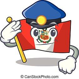 peru, politie, macot, vlag, vrijstaand