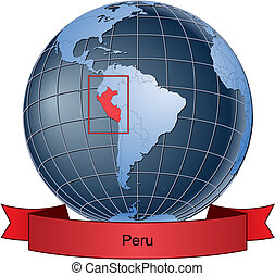 Peru, position on the globe Vector version with separate layers for globe, grid, land, borders, state, frame; fully editable
