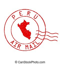 Peru post office, air mail stamp