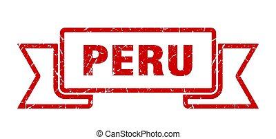 Peru ribbon. Red Peru grunge band sign