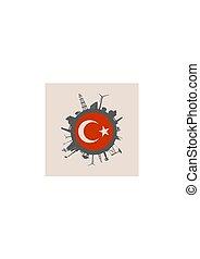 peru, silhouettes., indústria, relativo, bandeira, círculo
