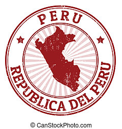 Grunge rubber stamp with the name and map of Peru, vector illustration
