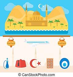 peru, turco, ou, fundo, ícones