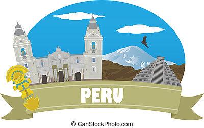 peru., turismo, y, viaje