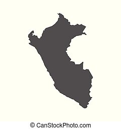 Peru vector map. Black icon on white background.