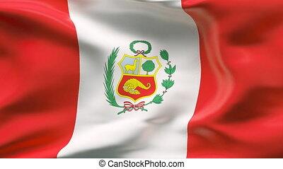 peru vlag, wind, kreukelig