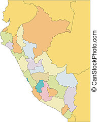 Peru, editable vector map broken down by administrative districts includes surrounding countries, in color, all objects editable. Great for building sales and marketing territory maps, illustrations, web graphics and graphic design. Includes sections of surrounding country, Brazil, Ecuador, Bolivia ...