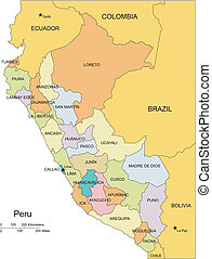 Peru, editable vector map broken down by administrative districts includes surrounding countries, in color with cities, district names and capitals, all objects editable. Great for building sales and marketing territory maps, illustrations, web graphics and graphic design. Includes sections of ...