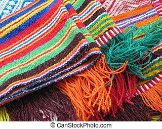 peruano, de lana, hecho, tela, mano