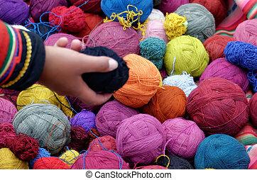 Peruano, lã, bola
