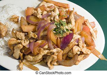 peruano, tradicional, alimento, saltado, pollo, pollo