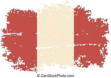 peruansk, flag., vektor, grunge, illustration.