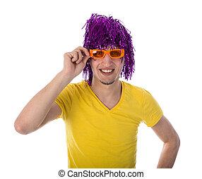 peruca, roxo, sobre, isolado, laranja, branca, óculos, homem