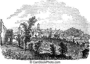 Perugia in Umbria Italy vintage engraving