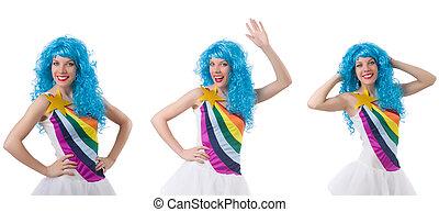 peruka, biały, kobieta, odizolowany