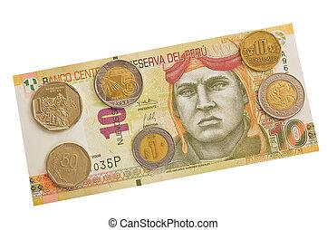Peruvian banknotes and coins.