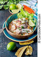 PERUVIAN CEVICHE SEBICHE. Peruvian seafood and fish sebiche with maize