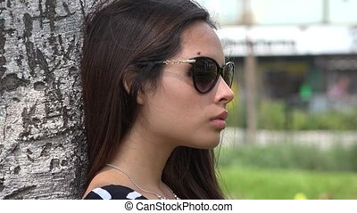 Peruvian Female Wearing Sunglasses