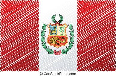 Peruvian flag, vector illustration