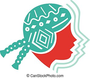 Peruvian Girl Hat Side Icon - Icon style illustration of...