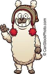 Peruvian lama - Cartoon lama with Peruvian hat. Vector clip...