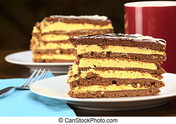 Peruvian lucuma cake with a chocolate dough (Selective Focus, Focus on the front of the cake)