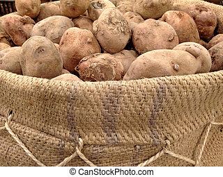 Peruvian potato on jute bag