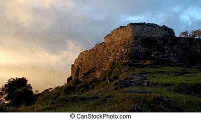 Peruvian structure in ruins built on Machu Picchu