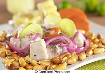 Peruvian-style ceviche made out of raw mahi-mahi fish (Spanish: perico), red onions, limes and aji (Peruvian hot pepper) and served with roasted corn (cancha) and cooked corn cob as well as cooked swe