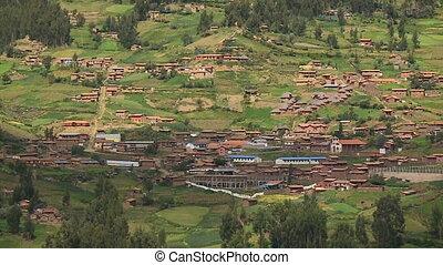Peruvian Village Settlement, Andes Peru - Medium high-angle...