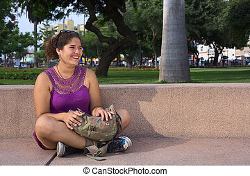 Peruvian Woman in Park