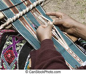 Peruvian Woman Weaving Cloth On A Hand Loom