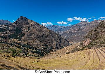 peruwiański, cuzco, andy, peru, gruzy, pisac