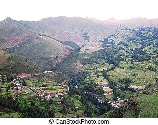 peruwiański, -, inca, andy, poświęcony, (pisaq), dolina,...