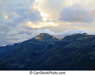 peruwiański, -, inca, andy, zachód słońca, poświęcony,...
