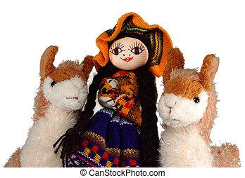 peruwiański, indianin, lalka, i, lamy