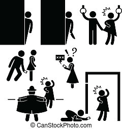 Pervert Stalker Physco Molester - A set of pictograms...