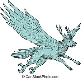 Drawing sketch style illustration of a Peryton, a Medieval European mythical creature with head, forelegs and antlers of a full-grown stag with the wings plumage and hindquarters of a bird viewed from the side set on isolated white background.