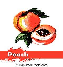 perzik, hand, watercolor, achtergrond., fruit, getrokken, witte , schilderij