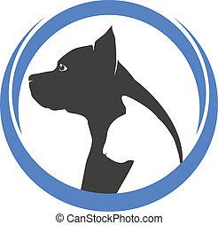pes, a, kočka, silhouettes, emblém
