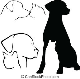 pes, i kdy, kočka, silhouettes
