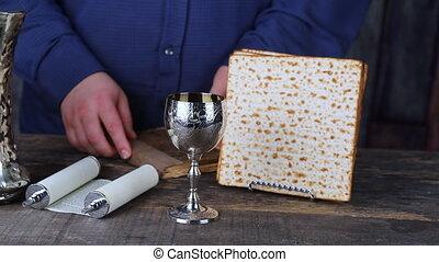 Pesach matzo passover with wine and matzoh jewish passover...