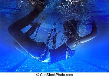 pesadelo, conceito, acorrentado, submarinas, mulher