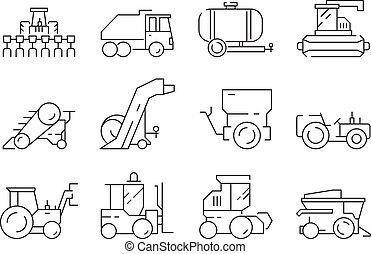 pesado, ícones, fazenda, harvester, vehicles., vetorial, buldozer, vila, construção, agricultura, trator, maquinaria