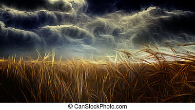 pesado, abstracción, campo, y, cielo