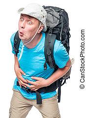 pesado, agudo, dor, turista, mochila, Carregar, barriga