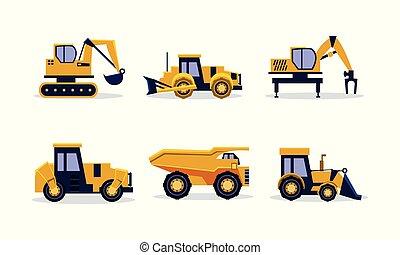 pesado, apartamento, jogo, entulho, escavador, equipment., trator amarelo, vetorial, maquinaria, caminhão, construção, carregador, backhoe, edifício.