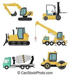 pesado, apartamento, jogo, maquinaria construção, ícone