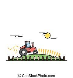 pesado, apartamento, trator, trigo, ajuda, eps10., equipment., ou, campo, vetorial, maquinaria, agricultor, colheita, style., vermelho, linear