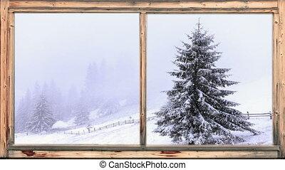 pesado, arborizado, neve, queda, área